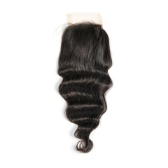 12A 【1PC Closure】 Loose wave #1b 4*4 Lace Closure 8-20 Inch Virgin Wave Hair(Free Part, Middle Part & Three Part )