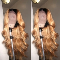 Customize 15 working Days! 13x4 #1b-27 Ombre Body Wave Wig Lace Frontal Wig Human Virgin Hair Super Grade 150% Density