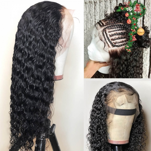 30inch 13x4 Frontal 250% density Wig HD Invisible Transparent Lace Wig Deep Wave Lace Wig Customize 3 days