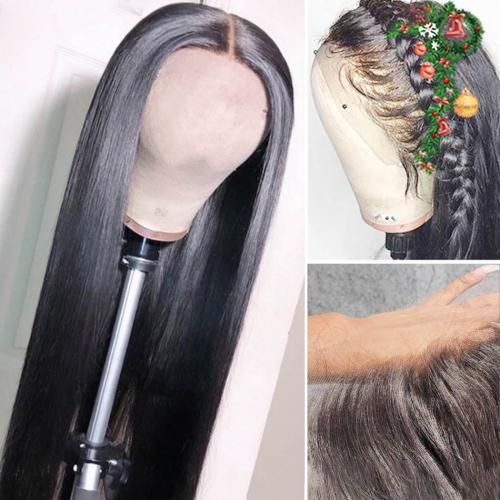 30inch 250% density Thin HD Invisible 13x4 Transparent Wig  Frontal Wig Straight Lace wig Customize 3 days