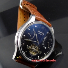 43mm parnis black dial power reserve date automatic movement mens watch P412