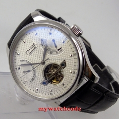 big sale of 43mm parnis white dial leather power reserve ST automatic mens watch P413