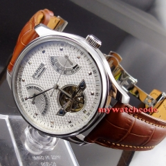 43mm parnis white dial brown strap power reserve ST automatic mens watch413