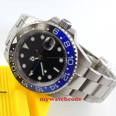 40mm parnis black dial GMT Ceramic Bezel sapphire glass automatic mens watch 268