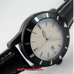 46mm no logo white dial luminous marks date PVD case automatic mens watch Bi19