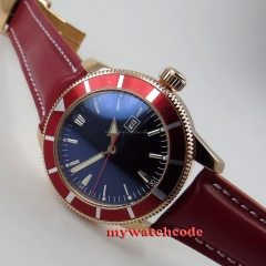 46mm no logo black dial red bezel rose golden case sub automatic mens watch 15