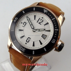 43mm BLIGER white dial ceramic bezel miyota automatic submariner mens wrist watch 13B