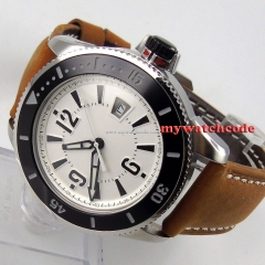 43mm BLIGER white dial date window ceramic beze automatic SUB mens watch 12