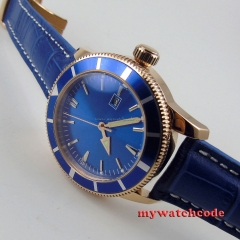 46mm no logo blue dial date rose golden case submariner automatic mens watch 16