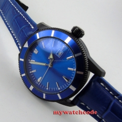 46mm blue dial sterile dial date window PVD case automatic movement mens watch21