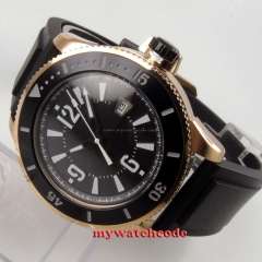 43mm BLIGER black dial rose golden rubber strap automatic submariner mens watch