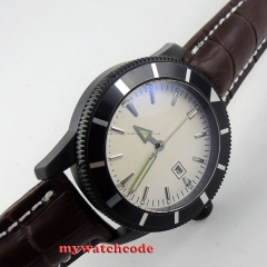 46mm no logo white dial date luminous marks PVD case automatic mens watch B17