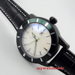 sterile white dial luminous marks date PVD case automatic movement mens watch 20