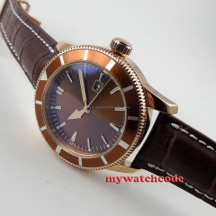 46mm no logo coffee dial luminous marks rose golden sub automatic mens watch 14