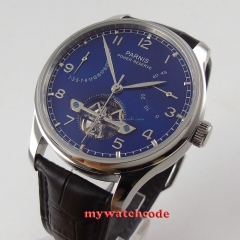 43mm parnis blue dial black strap power reserve ST automatic mens watch 547