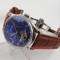 43mm parnis blue dial brown strap power reserve ST automatic mens watch 547
