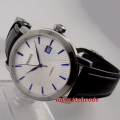 41mm parnis white dial date blue marks miyota 8215 automatic mens watch P554