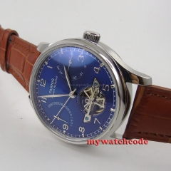 43mm parnis blue dial power reserve ST automatic movement mens watch 547C