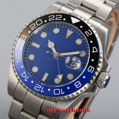 43mm parnis blue dial GMT date window sapphire glass automatic mens watch 351B