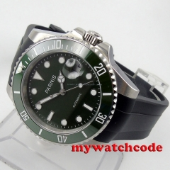 40mm Parnis green dial ceramic beel 21 jewel Miyota automatic mens watch P569