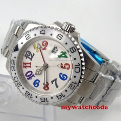 40mm parnis white dial sapphire glass GMT automatic movement unsex mens watch 50