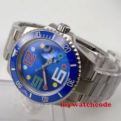 40mm parnis blue dial sapphire crystal sub date window automatic mens watch P86
