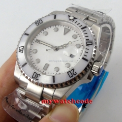 40mm parnis white dial sapphire crystal date automatic movement mens watch P86