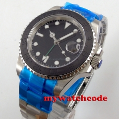40mm parnis black dial brushed ceramic bezel GMT date automatic mens watch P578
