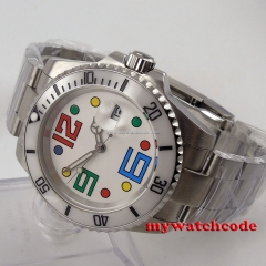 40mm parnis white dial colorized marks sapphire glass automatic mens watch P86