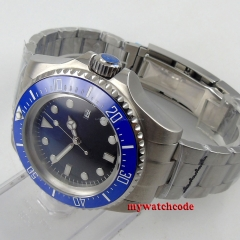parnis black blue dial Ceramic Bezel stainless steel automatic mens watch 49