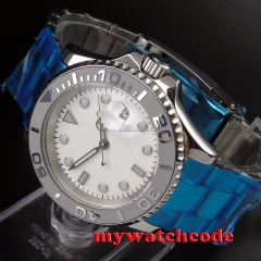 40mm parnis white dial ceramic bezel sapphire crystal automatic mens watch P92