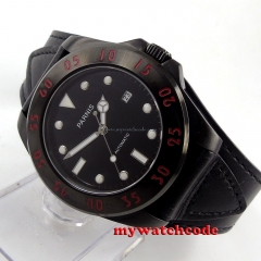 43mm Parnis black dial PVD case Sapphire Glass miyato Automatic mens Watch P391B