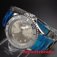 40mm parnis gray dial date window sapphire crystal automatic mens watch P93