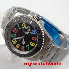 40mm parnis black colorful dial date sapphire crystal automatic mens watch P94