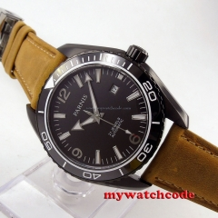 45mm Parnis black dial PVD case Sapphire Glass miyota Automatic mens Watch 305B