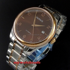 38mm Parnis brown dial date Sapphire Glass miyota Automatic mens Watch P595