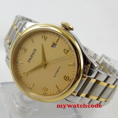 gorgeous 38mm Parnis golden dial Sapphire Glass miyota Automatic mens Watch P596
