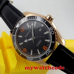45mm Parnis black dial Sapphire Glass miyota 821A Automatic mens Watch P306