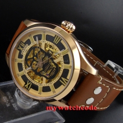 45mm Parnis skeleton Gold dial 21 jewels miyota 8N24 Automatic Mens Watch 588B