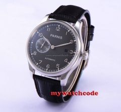 43mm parnis gray dial ST movement automatic black leather mens watch P586