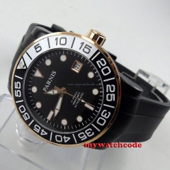 Parnis black dial Sapphire glass PVD case Miyota automatic movement watch P394B