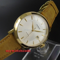 41mm Parnis white dial golden case Sapphire Glass Automatic mens Watch 590B