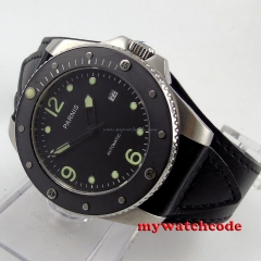 43mm Parnis black dial Sapphire Glass ceramic bezel Automatic mens Watch P390B