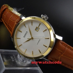 41mm Parnis white dial golden bezel Sapphire Glass Automatic mens Watch 589B