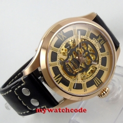 45mm Parnis skeleton Gold dial miyota 8N24 Automatic Movement Men's Watch 588A