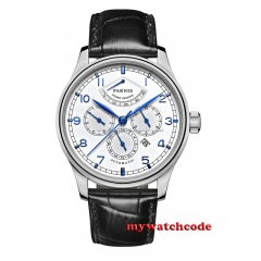 42mm parnis white dial blue power reserve miyota 9100 Automatic mens Watch P584B