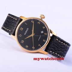 38mm parnis black dial date golden plated case miyota automatic mens watch P582