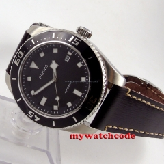 43mm Parnis black dial black bezel miyota automatic diving mens watch 592B