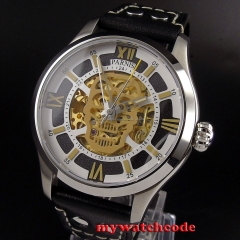 45mm Parnis skeleton Sapphire glass Gold miyota Automatic Movement Mens Watch525