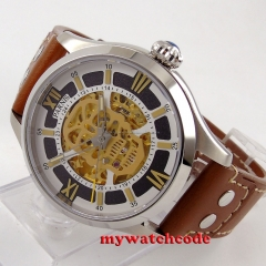 45mm Parnis Sapphire glass Gold miyota Automatic Movement Men's Watch 525